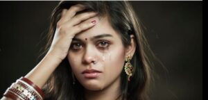 a crying married Indian lady